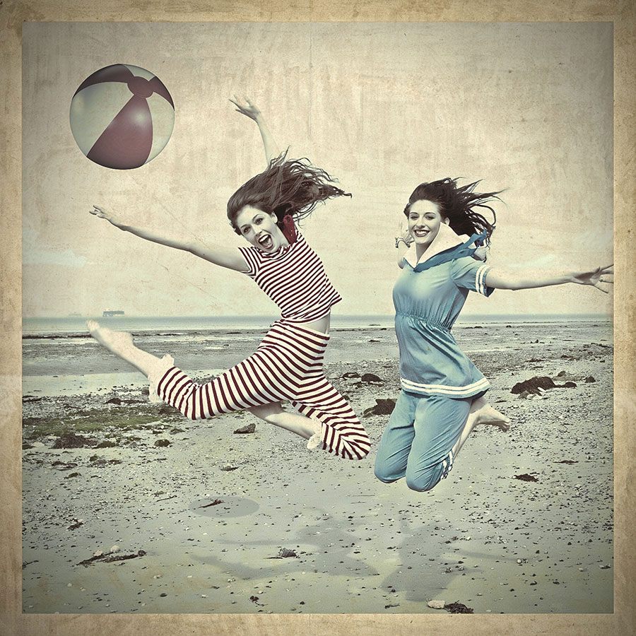Vintage beach girls at Appley Beach, 2012.
